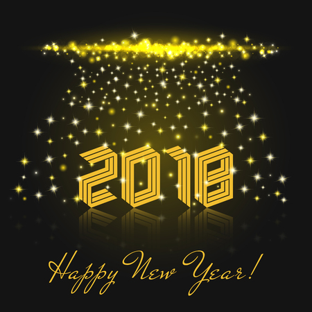 bengal: Happy New Year 2018 yellow isometric text. Winter Holiday greeting card template vector illustration. Shiny composition falling stars and sparks of the fireworks or Bengal lights Illustration