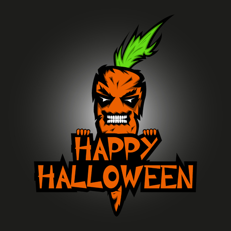 Evil spirit in the form of an Devil orange carrot with the text of a Happy Halloween. All Hallows Evening banner or greeting card dark background.