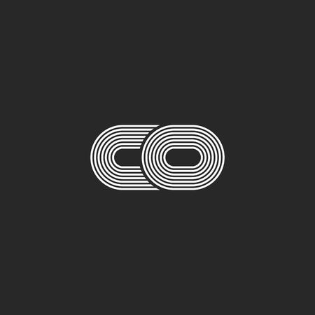 2 つの組み合わせ小さな文字 c と o 創造的な co ロゴ モノグラム、黒と白薄い平行線モダンなイニシャル エンブレム。