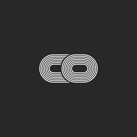 Połączenie dwóch małych liter c i kreatywnych monogram monogramu, czarno-białe równoległe cienkie linie nowoczesne symbole inicjałów.
