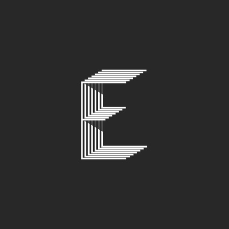 Monogram letter E logo, black and white many parallel thin lines mark, creative isometric geometric shape modern typography design element, mockup hipster initial emblem