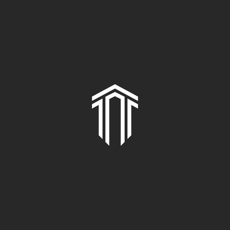 Letter T logo monogram combination of two letters TT parallel lines shape an isometric form of a shield, a creative idea a modern emblem, hipster typography design element