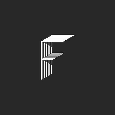 Letter F logo, black and white many thin lines monogram, isometric geometric shape modern typography design element, mockup initial emblem Illustration