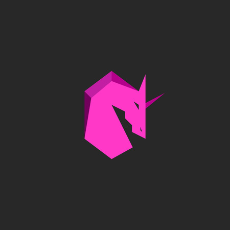 Head unicorn logo pink silhouette horse with horn mascot emblem t-shirt print design element template Иллюстрация