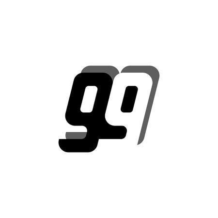 Logo 99 nummer zwart wit negatief ruimte vet gekoppeld symbool met schaduw vector creatieve moderne ontwerpsjabloon voor casual t-shirt afdrukken.