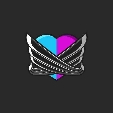 A stylized heart consisting of two unified halves of pink and blue hearts encircled by abstract angel wings. Valentine is Day love poster or modern emblem print on a T-shirt.