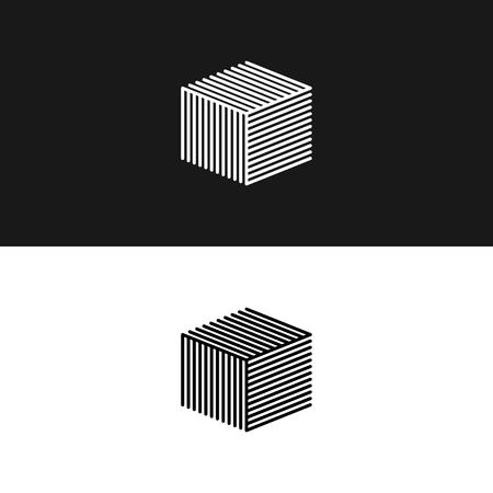 Linear cube symbol 3D isometric architecture box maze structure, interior building hipster minimal geometric shape design element.