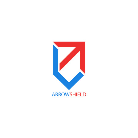 Arrow symbol shield shape, creative symbol growth, reliability and stability for financial success business. 일러스트