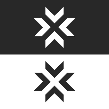 Converge arrows logo mockup, letter X shape black and white graphic concept, intersection 4 directions in center crossroad creative resize icon Vettoriali