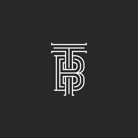 Elegant logo TB letters initials monogram, combination two letters T and B marks, black and white calligraphic linear BT emblem mockup