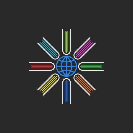 Logo books encyclopedia, multicolored books located around the globe, a global education program concept.