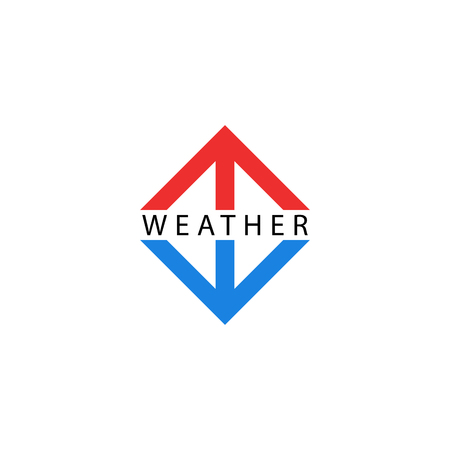 Arrows logo, pointing up and down, symbols of growth and fall indicators, red arrow hot, blue symbol cold temperature. Weather logotype. Vettoriali
