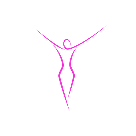 Silhouette of a slender girl logo, slim figure of a young attractive woman fitness model in a linear art style, a emblem template for a spa salon or fashion show Stok Fotoğraf - 96372046