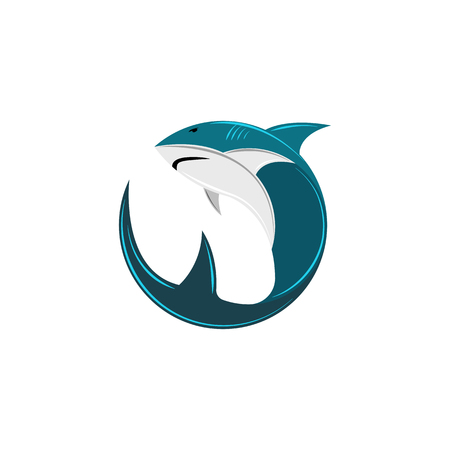 Shark logo of the round form, the abstract silhouette of a sea animal of a predator, a fish icon