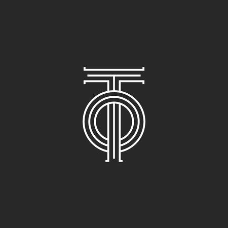 Initials letters TO logo monogram, overlapping two letters T and O parallel lines linear design, simple mark OT emblem Ilustração