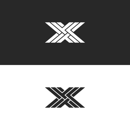 Logo X capital letter monogram, identity initial linear emblem for business card, black and white overlapping lines weaving pattern