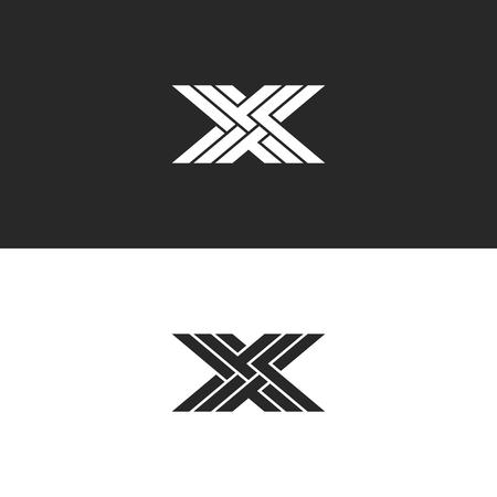 Logo X hoofdletter monogram, identiteit aanvankelijk lineair embleem voor visitekaartje, zwart en wit overlappend lijnenweefpatroon