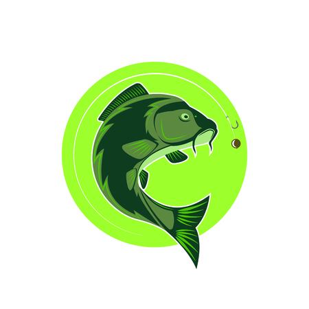 Logo carp fishing green round emblem, fish icon fishing line with hook and boilie bait