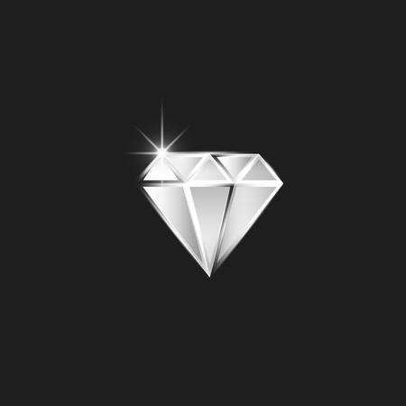 Diamond logo, realistic cut diamond with spark as a gemstone for jewelry workshop emblem Ilustrace