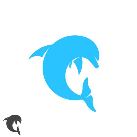 Dolphin logo round shape jumping marine animal above waves. Spa, sport, resort, tourism, travel, diving club identity emblem. Letter C form symbol. Illustration