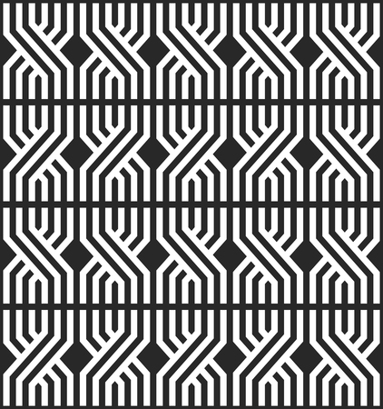 Repeating geometric overlapping lines seamless pattern black and white mexican fabric background. Modern stylish the cloth print. Overlapping broken shapes linear elements with zigzag texture