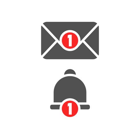 buzón de entrada del libro nuevo y el icono de campana de alarma. objeto de color gris de un gran reloj de pago con el círculo rojo y blanco número de referencia y el evento de eventos para la venta de cumpleaños en la tienda de fotos