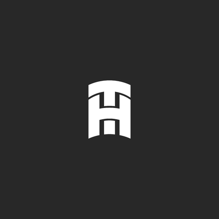 Initials letters TH overlapping bold lines monogram, overlapping two capital creative letters T and H simple emblem, initials HT combination