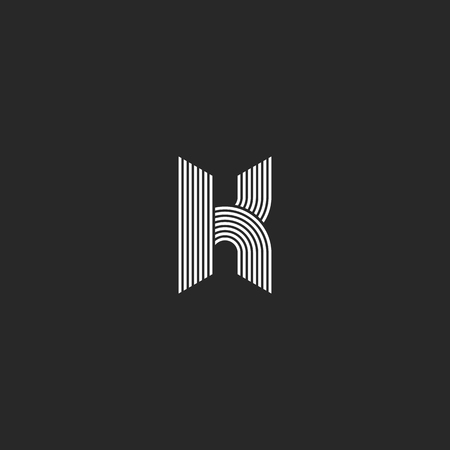 K letter monogram mockup, black and white initial emblem, offset smooth thin lines geometric shapes