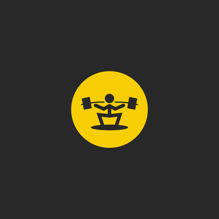 Weightlifter round shape, weightlifting sport icon, silhouette of athlete with barbell minimal style emblem for print on t-shirt.
