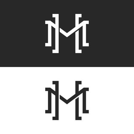 Initials HM or MH overlapping letters logo design, two letters M and H symbol emblem mockup