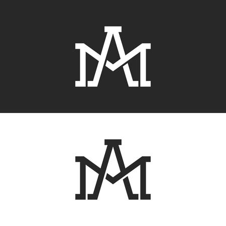 Maquette de conception de logo de lettres AM ou MA initiales de monogramme, chevauchant deux lettres majuscules A et M emblème de mariage à la mode créatif Logo