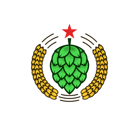 Natural craft beer or whiskey creative brewery crest round emblem, green hop and yellow wheats with red star vector illustration