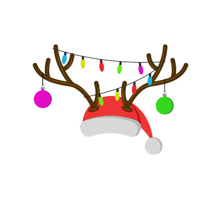 Christmas carnival mask with reindeer antlers, Santa Claus red hat with deer horns new year balls and christmas lights Illustration