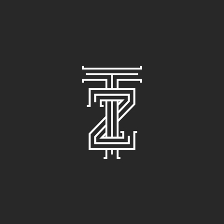 Letters logo TZ linear medieval monogram template, overlapping thin lines design ZT creative mark design mark, two letters T and Z combination