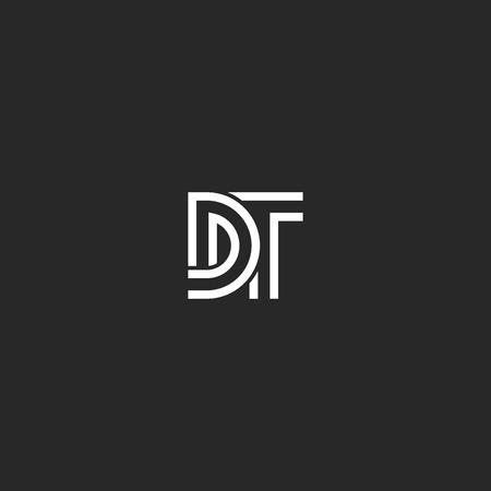 Dos letras monograma logo DT o TD iniciales tejiendo líneas diseño de tipografía minimalista, D y T juntos plantilla de tipografía de emblema de boda Logos