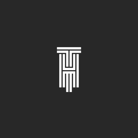 Hipster Initials TH or HT logo original wedding creative emblem, letters T and H line art black and white style. Logó