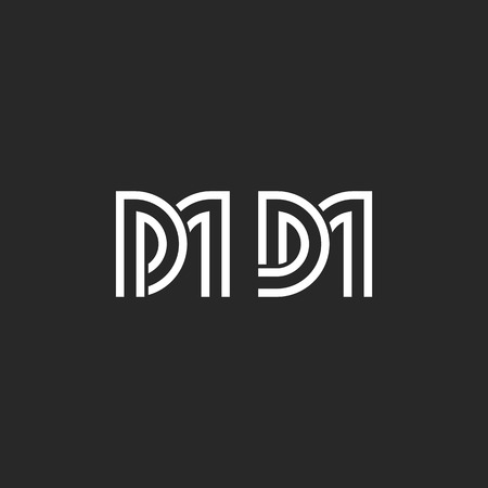 Creative monogram DM or MD letters initials, weaving two letters D and M minimal style design template vector. Vecteurs