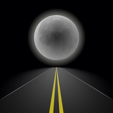 Empty straight night perspective asphalt road stretching into the distance to the horizon on the background of a large full moon, outdoor landscape vector illustration