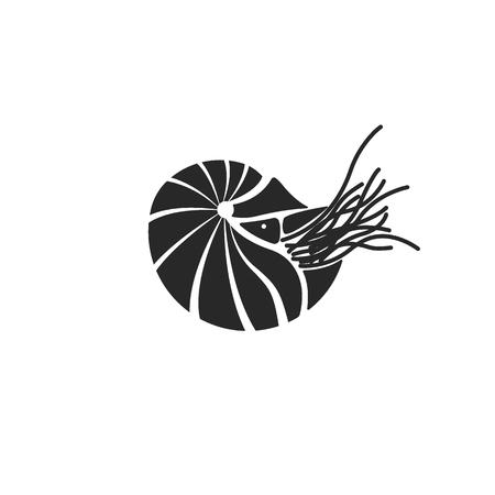 Silhouette chambered nautilus, Nautilus Pompilius shell ocean mollusk black and white minimalist style tattoo template.
