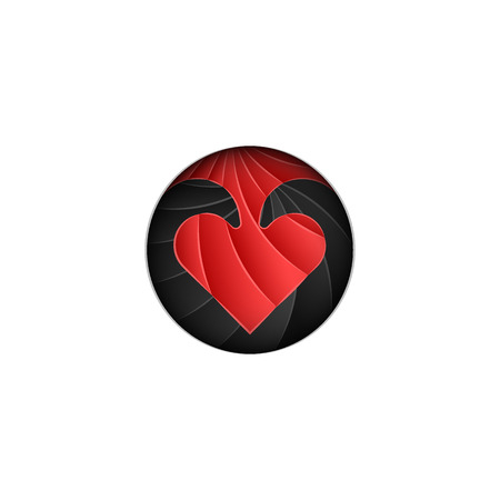 Round   Valentines Day, scaly red heart on a black background in the style of material design cut from paper Ilustrace