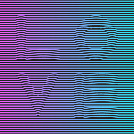 Vaporwave or synthwave creative holographic poster, neon gradient striped illusion word love for t-shirt print emblem