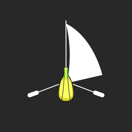 Yellow banana boat   tropical fruit in the form of a sailing yacht with oars, creative food emblem