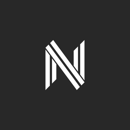 Monogramme lettre N design deux lignes parallèles style hipster