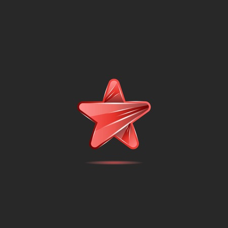 Glowing bright neon red glass star shape, creative emblem for pop party music award.