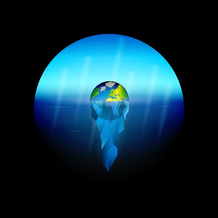 Conceptual illustration on the theme of global warming on planet Earth the melting of glaciers as an ecological disaster. Sinking Iceberg planet.