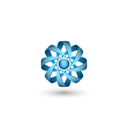 Physical atomic particle 3D abstract concept, volume molecule icon for nuclear energy