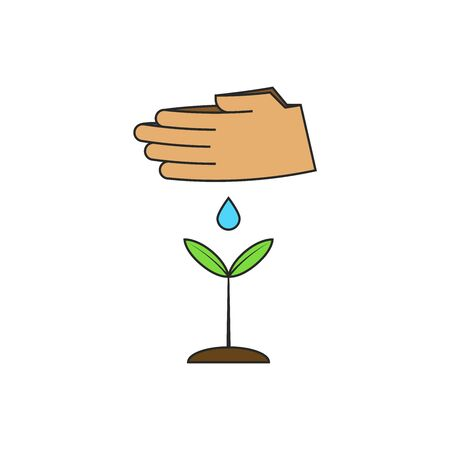 Human hands watering a young plant. Vector illustration on the theme of restoring world forests. Growth of seedling and greening of the environment eco concept. 版權商用圖片 - 127206637