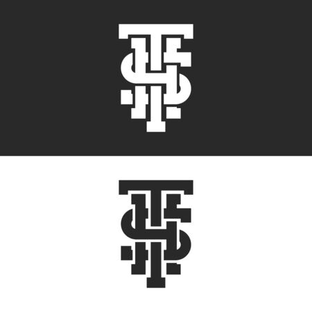 Combination three letters S, T, H initials monogram, set black and white overlapping intersection linear identity symbols Ilustração