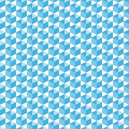 Cubic isometric shapes in blue halftone seamless pattern, simple diagonally arranged geometric forms for print on fabric or background for poster, banner or flyer