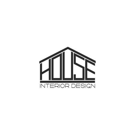 house lettering t-shirt print design element, interior design agency or real estate emblem mockup